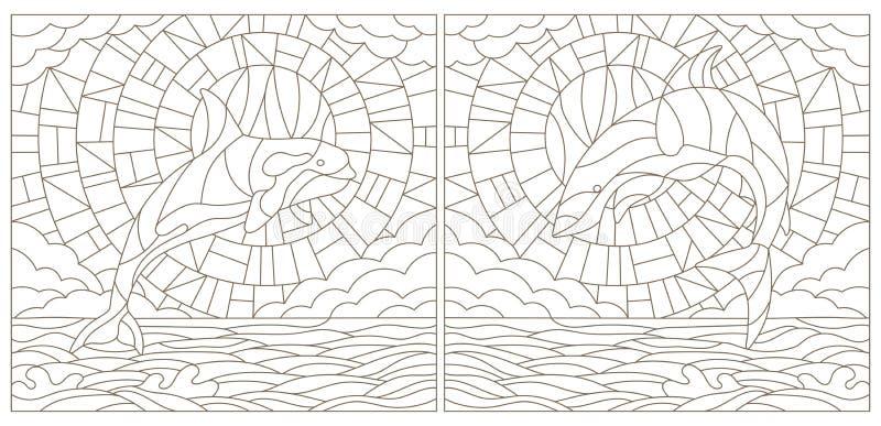 Contourreeks illustraties van gebrandschilderd glas met haai en walvis op de overzeese achtergrond, de wolk, de hemel en de zon royalty-vrije illustratie