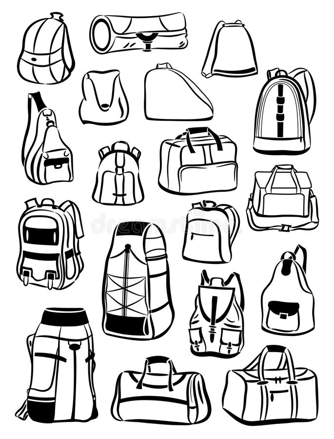 Contours of backpacks and bags stock illustration