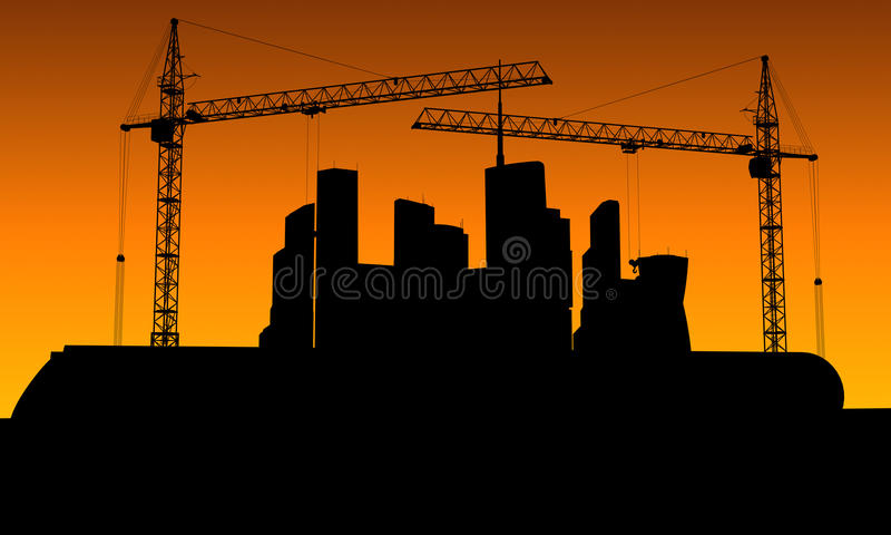 The contours of buildings under construction and cranes. At sunset vector illustration