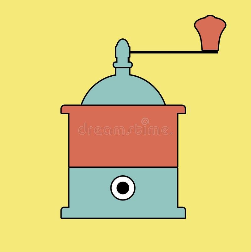 Contours de style de logo rétros Rectifieuse de café illustration stock