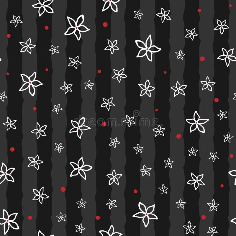 Contours des fleurs abstraites dessinées à la main Configuration sans joint florale illustration stock