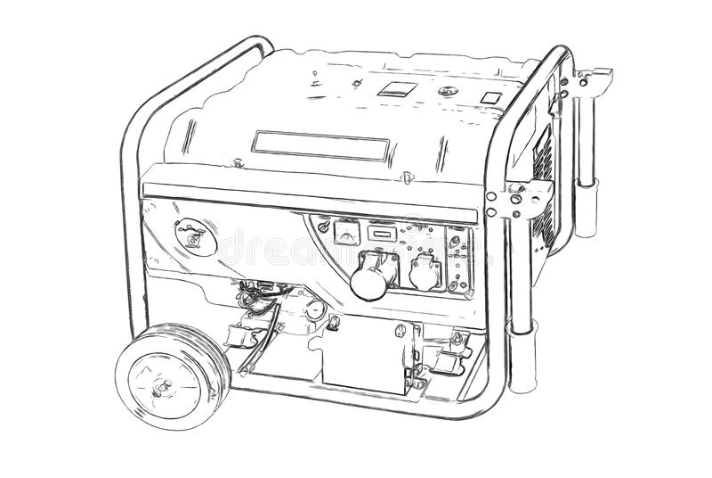 Contours du générateur portatif illustration stock