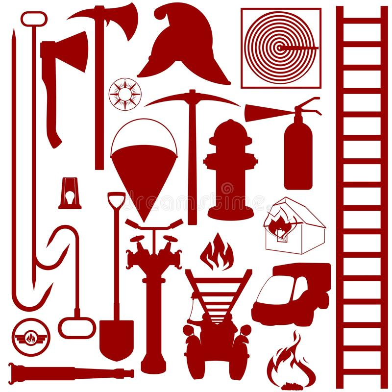 Contours of fire fighting equipment, tools and acc royalty free illustration