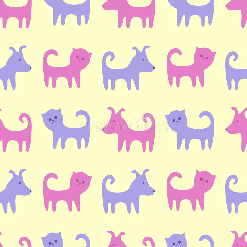 The contours of funny cats and dogs. Seamless vector pattern royalty free illustration