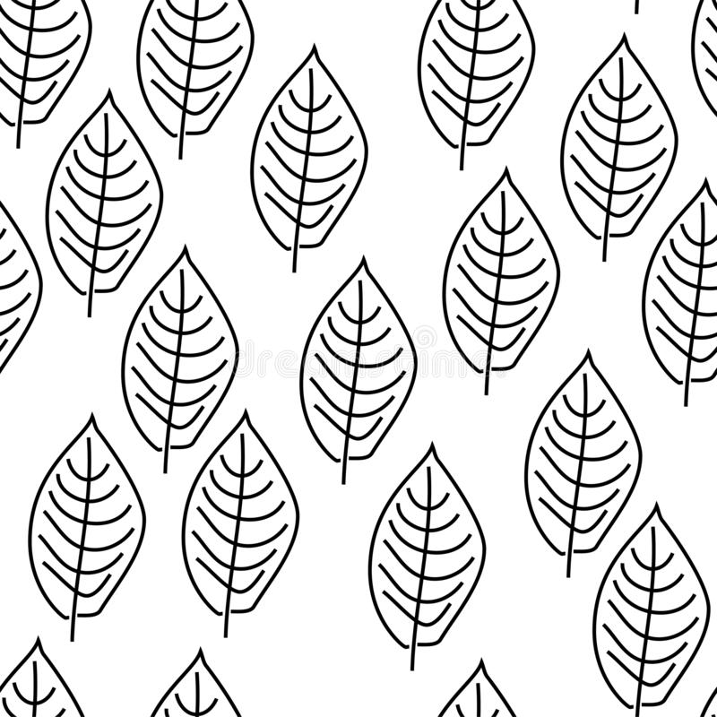 Contours of leaves. Black and white colors. Scandinavian style. White background. Seamless pattern. Primitive drawing stock illustration