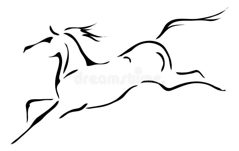 Contours noirs et blancs de vecteur de cheval illustration stock