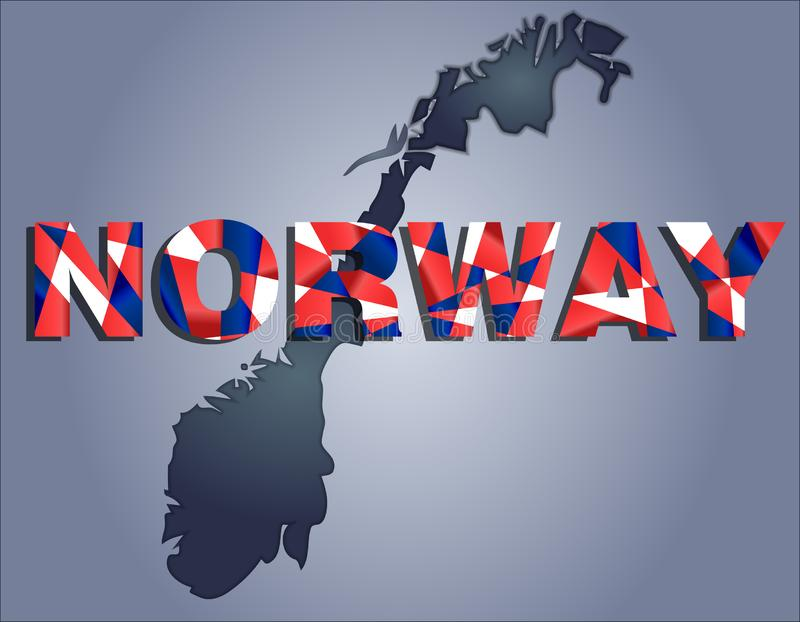 The contours of territory of Norway and Norway word in colors of the national flag vector illustration