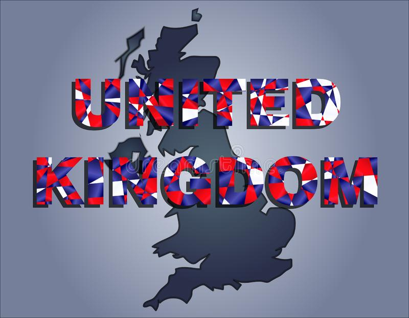 The contours of territory of United Kingdom and United Kingdom word in the colors of the national flag. The contours of territory of United Kingdom in grey vector illustration