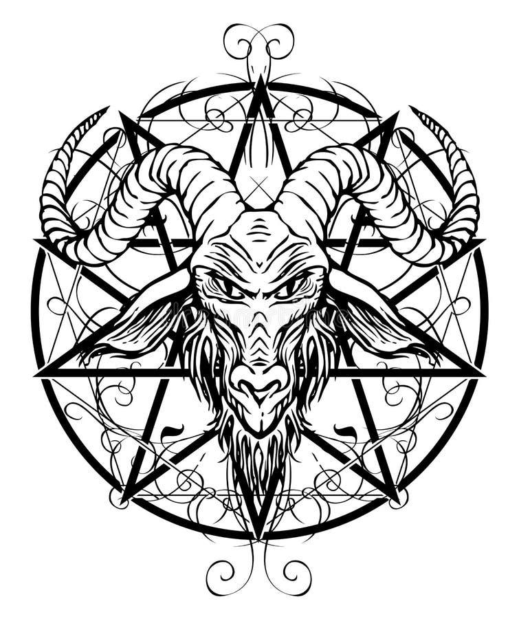 Contourtekening van gehoornd geithoofd en pentagram vector illustratie