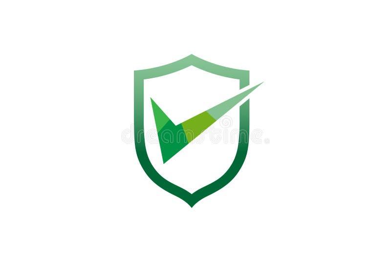 Contrôle créatif Logo Design Symbol Vector Illustration de bouclier illustration de vecteur