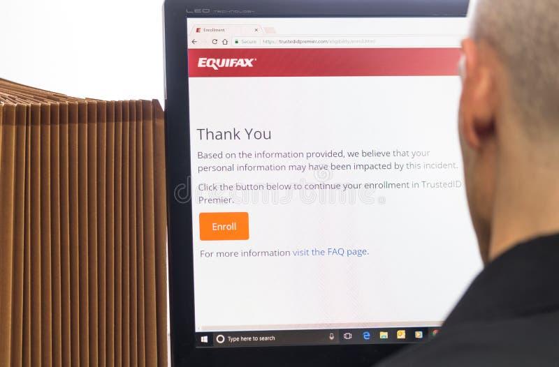 Contrôle d'impact de l'information personnelle d'Equifax le 9 septembre 2017 photo libre de droits