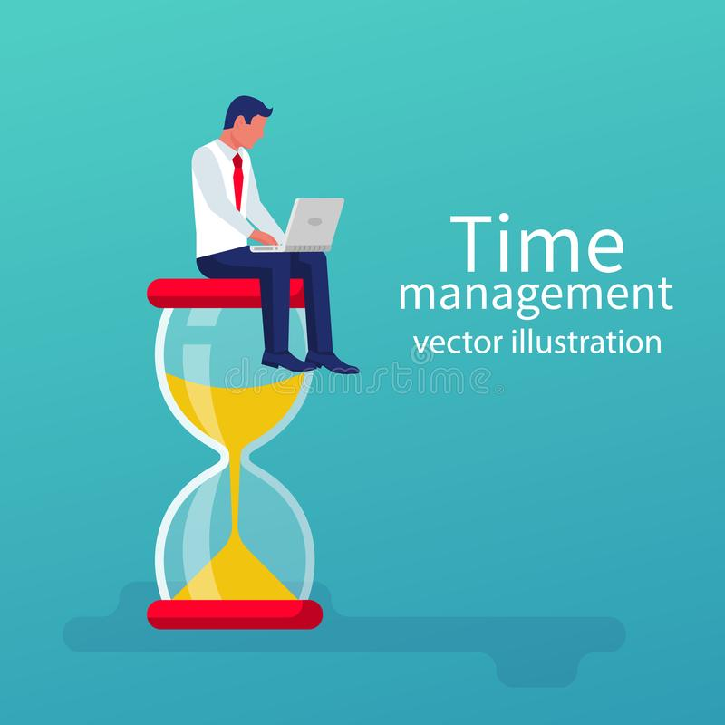 Contrôle de gestion du temps Conception plate d'illustration de vecteur illustration stock
