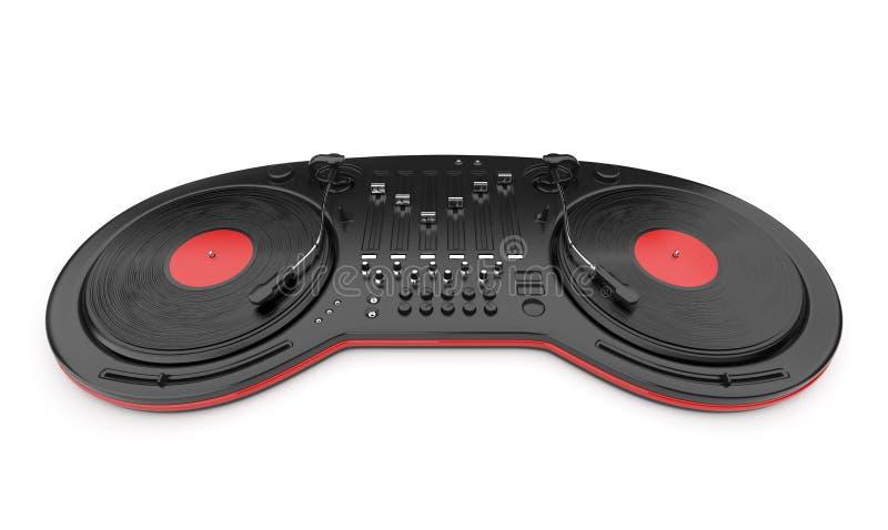 Contrôle de mélangeur de musique du DJ avec le disque 3D illustration stock