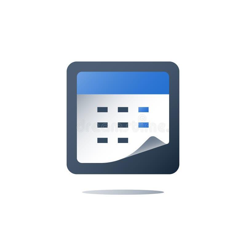 Contrôle de santé annuel, calendrier médical, services de soins de santé, période de temps, jour de rendez-vous d'examen médical illustration stock