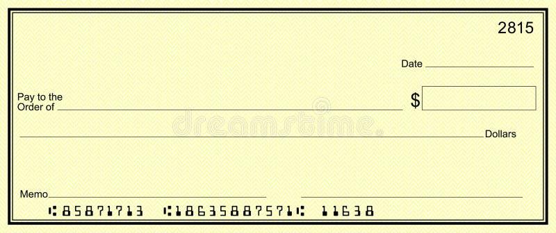 Contrôle jaune avec des numéros de compte faux image stock