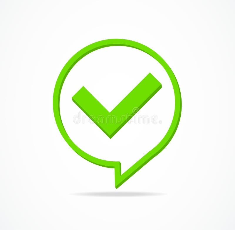 Contrôle Mark Yes ou signe de vert de confirmation Vecteur illustration de vecteur
