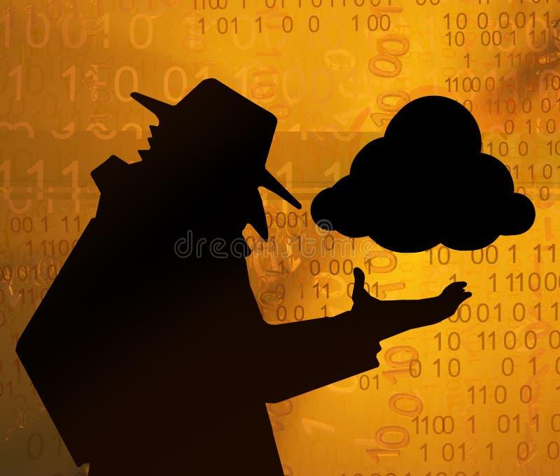 Contrôle virtuel de nuage d'espion illustration libre de droits