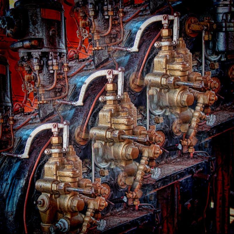 Contrôles et leviers d'ajustement d'une machine à vapeur de vintage photo libre de droits