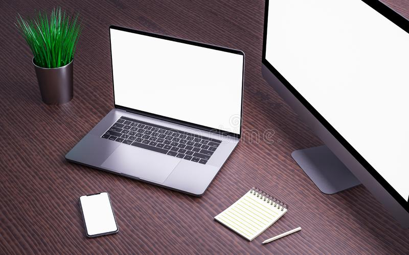 Contrôleur à distance de contact de dispositif numérique de media player de smartphone d'ordinateur portable images libres de droits