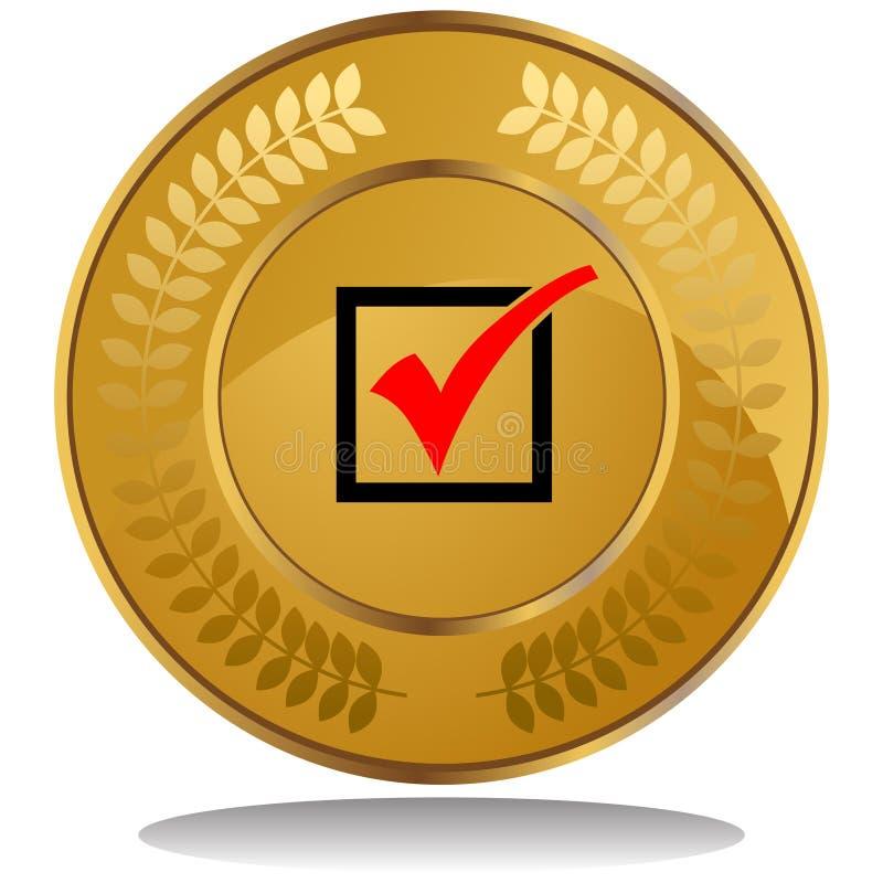 contrôlez le repère de pièce d'or illustration libre de droits