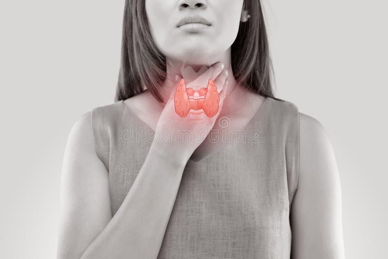 Contrôle de glande thyroïde de femmes photos libres de droits