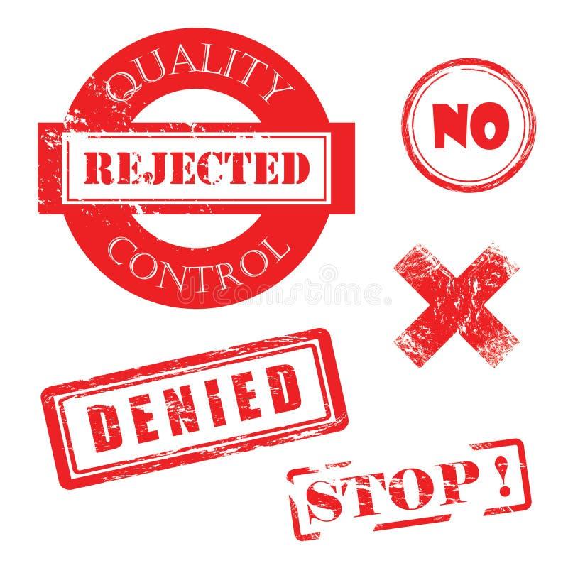 Contrôle de qualité, rejeté, non, X, nié, timbres de rouge affligés par arrêt illustration stock