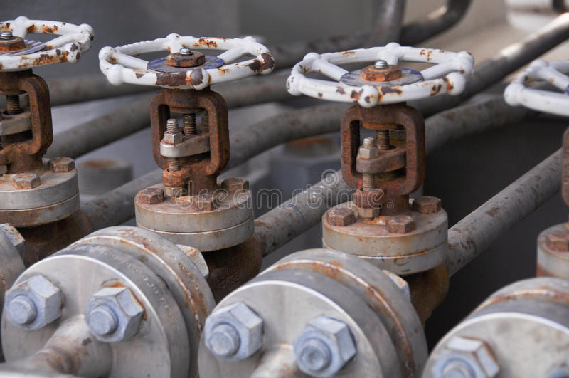 Contrôle de valve dans le dérapage de turbine Beaucoup valve réglée pour le processus et le contrôle de fabrication de contrôle p photo stock