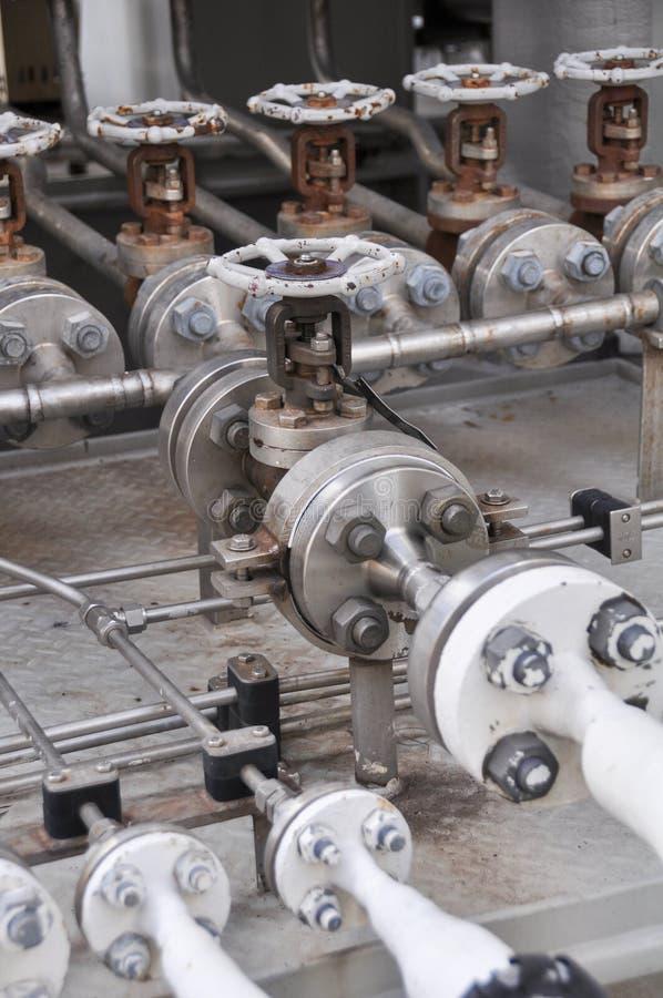 Contrôle de valve dans le dérapage de turbine Beaucoup valve réglée pour le processus et le contrôle de fabrication de contrôle p photographie stock