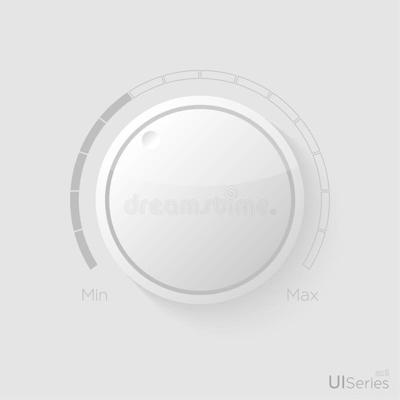 Contrôle en plastique de musique de volume de vecteur avec une échelle illustration stock