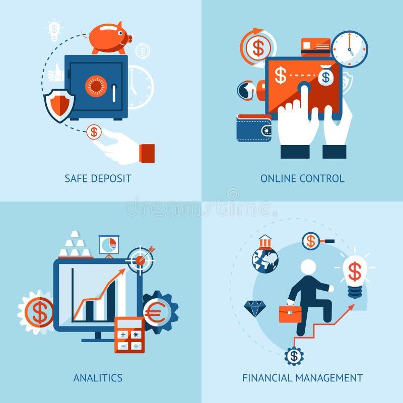 Contrôle financier d'opérations bancaires en ligne et de paiement illustration de vecteur