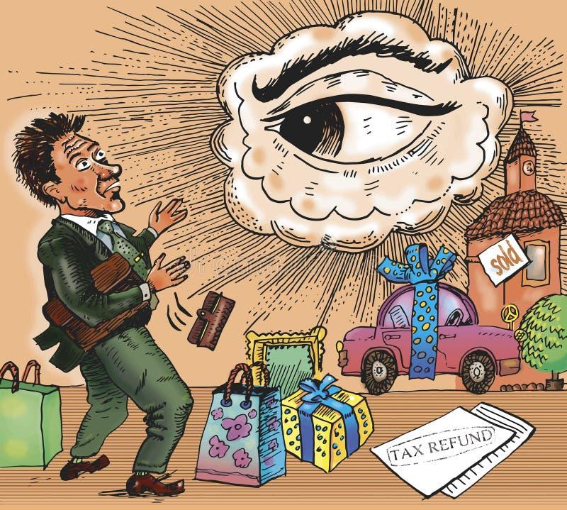 Contrôle fiscal des achats Les regards de frère illustration de vecteur