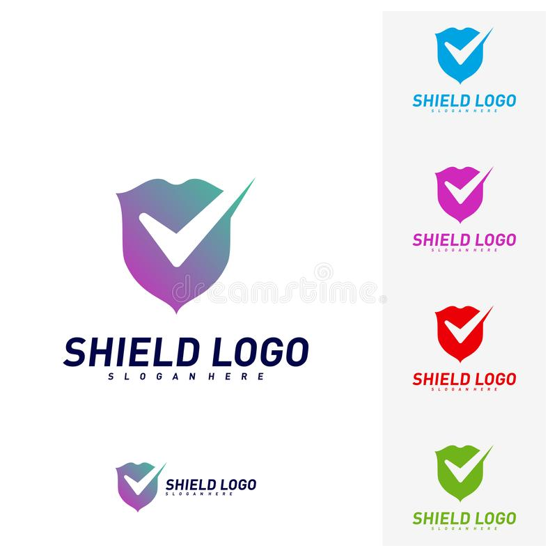 Contr?le Logo Design Concept Vector de bouclier Conception d'illustration de vecteur de qualit? de bouclier Symbole d'ic?ne illustration stock