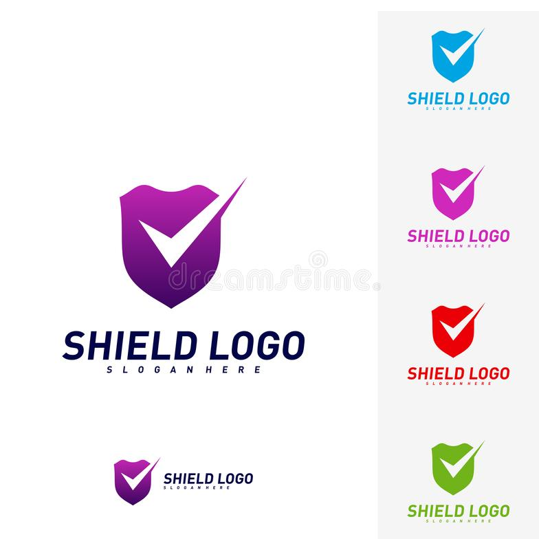 Contr?le Logo Design Concept Vector de bouclier Conception d'illustration de vecteur de qualit? de bouclier Symbole d'ic?ne illustration libre de droits