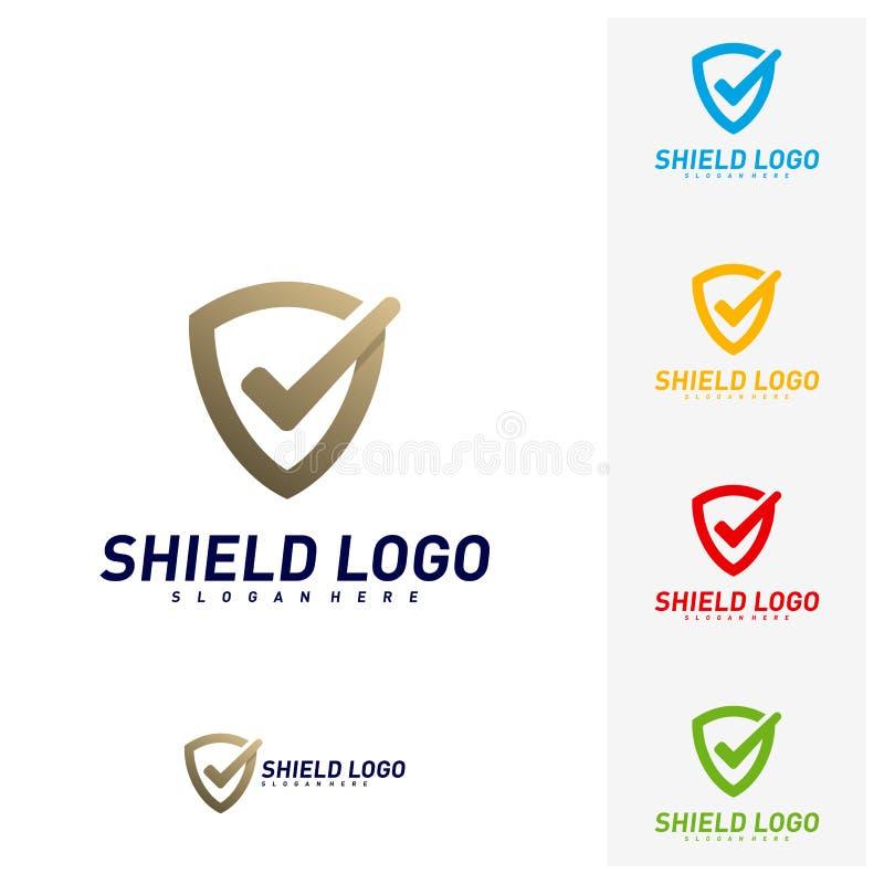 Contr?le Logo Design Concept Vector de bouclier Conception d'illustration de vecteur de qualit? de bouclier Symbole d'ic?ne illustration libre de droits