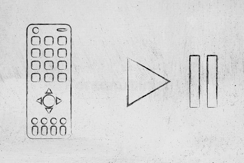 Contrôleur à distance à côté des icônes de pase et de jeu illustration de vecteur