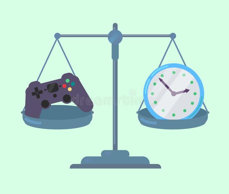 Contrôleur et horloge de jeu sur des échelles illustration libre de droits