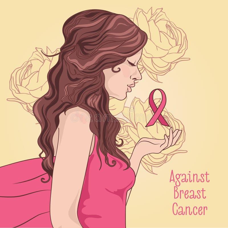 contra bandera del cáncer de pecho, muchacha hermosa con la cinta rosada stock de ilustración