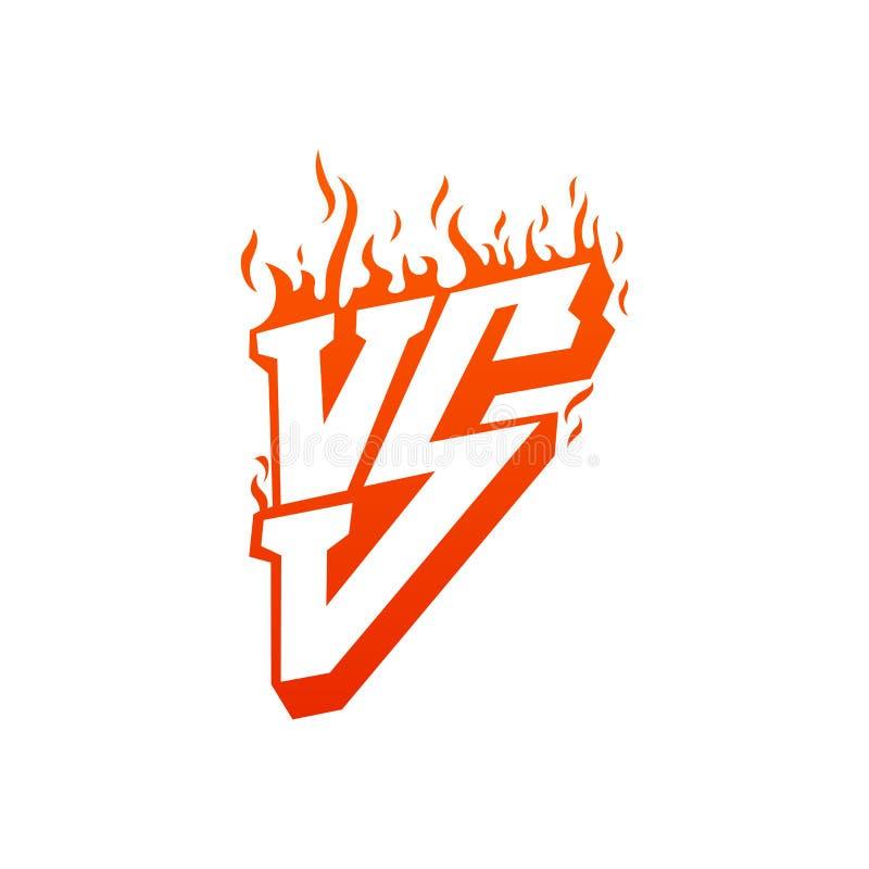 Contra com quadros do fogo e contra letras Ardor CONTRA para o duelo e a confrontação Ilustração lisa isolada no branco ilustração do vetor