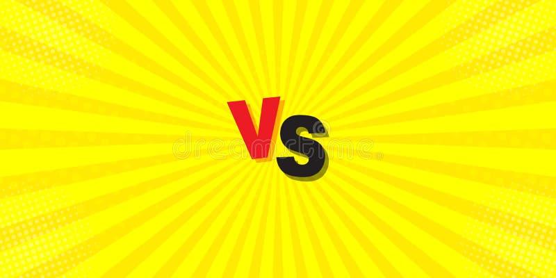 CONTRA a comparação em um fundo amarelo Letras do esforço no projeto cômico do estilo liso com reticulação, relâmpago Vetor ilustração do vetor