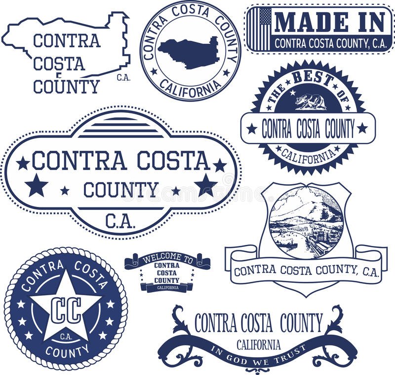 Contra Costa county, CA. Set of stamps and signs stock illustration