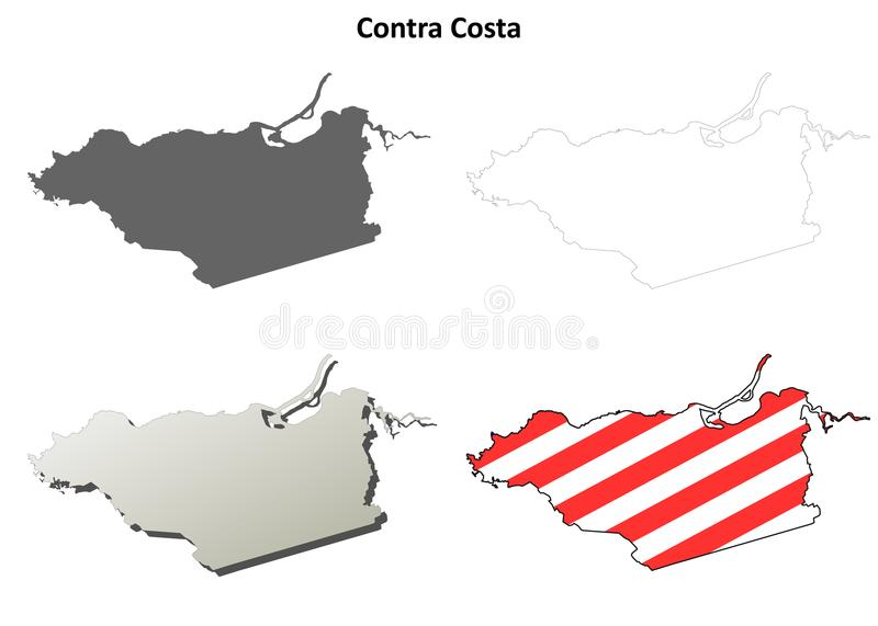 Contra Costa County, California outline map set vector illustration