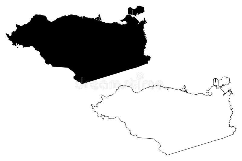 Contra Costa County, vetor do mapa de Califórnia ilustração royalty free
