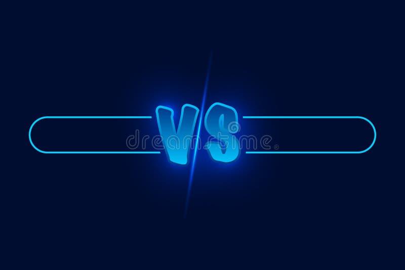 CONTRA el ejemplo del vector del desafío del duelo Contra el tablero de rivales, con el espacio para el texto Ilustración del vec libre illustration