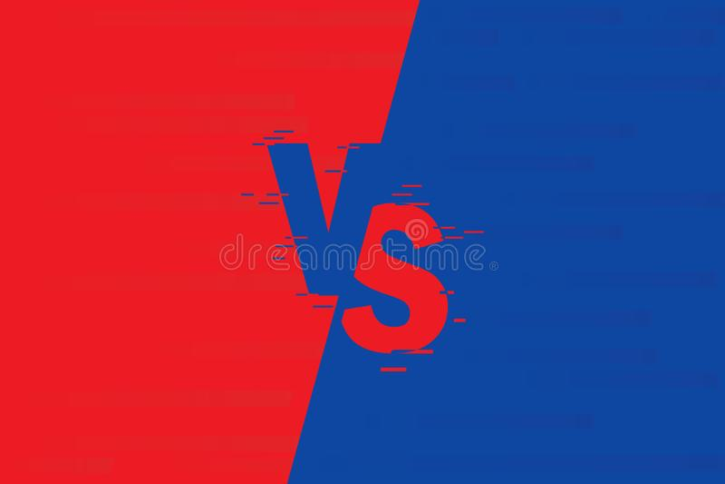 CONTRA Fondos de la lucha cara a cara, azul contra rojo Comparación de la pantalla ilustración del vector
