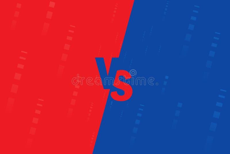 CONTRA Fondos de la lucha cara a cara, azul contra rojo Comparación de la pantalla libre illustration