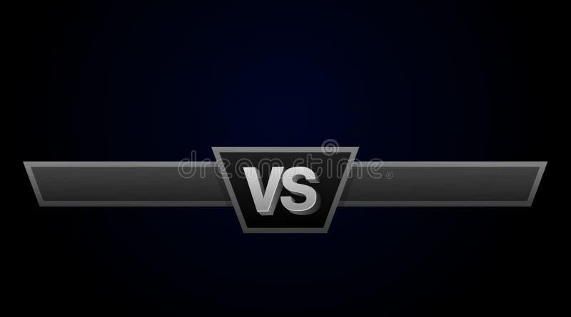 CONTRA a ilustração do desafio do duelo Contra a placa dos rivais, com espaço para o texto ilustração stock