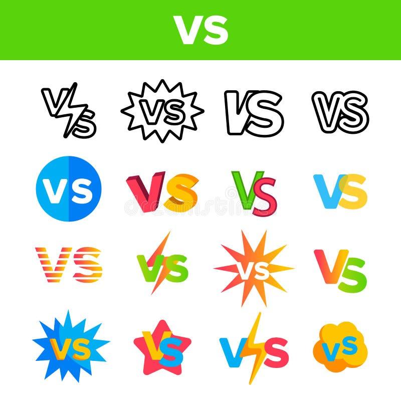 CONTRA la abreviatura, contra sistema de los iconos del color del vector stock de ilustración