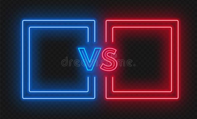 Contra la pantalla con los marcos de neón y contra muestra en el fondo oscuro Diseño de la confrontación libre illustration