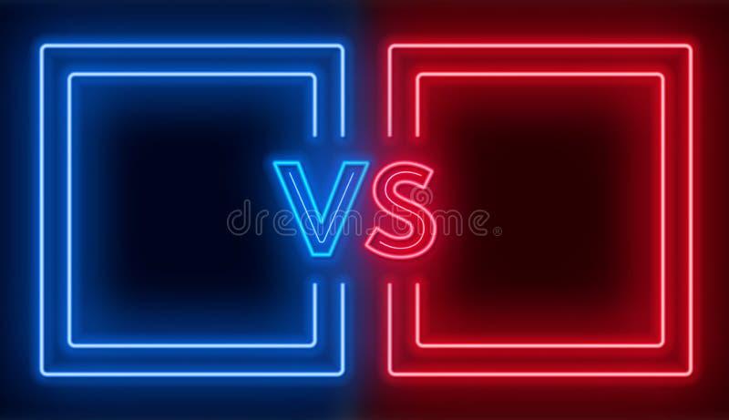 Contra la pantalla con los marcos de neón y contra muestra en el fondo oscuro Diseño de la confrontación stock de ilustración