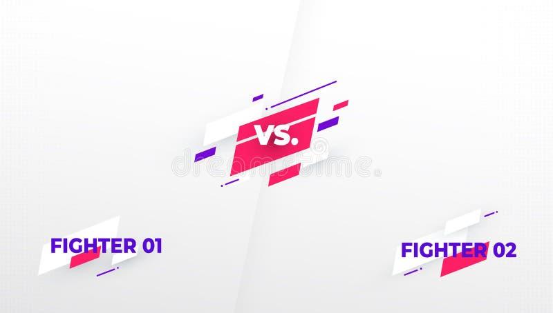 Contra la pantalla Contra título de la batalla, equipos del duelo del conflicto Pantalla del videojuego Competencia de la lucha d libre illustration